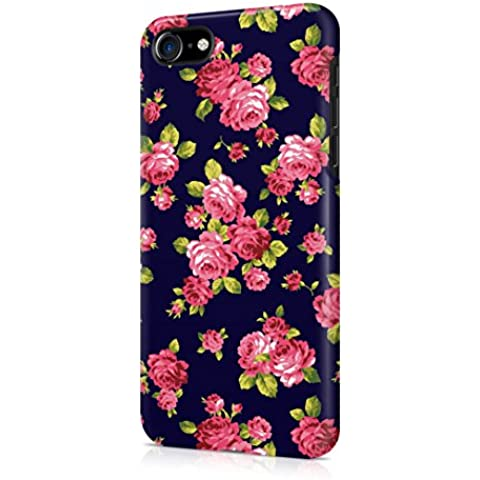 Vintage Floral Flowers Roses Pattern Indie Tumblr Boho Blue Apple iPhone 7 Snap-On Hard Plastic Protective Shell Case Cover