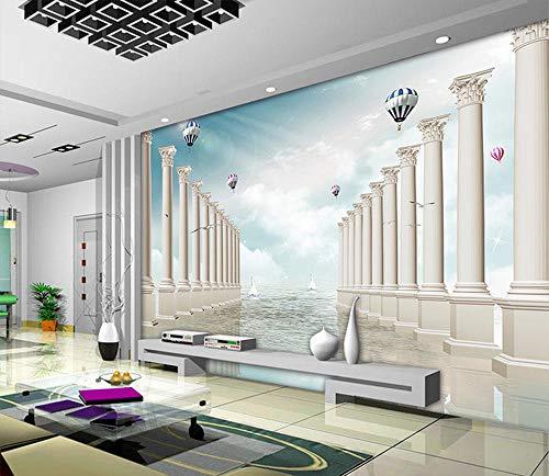Fototapete Vlies Tapete - Moderne Wanddeko Design Tapete Wandtapete Wand Dekoration - Römische Spalte Seelandschaft Wandbild,243x168cm - Schwarze Römische Farbtöne
