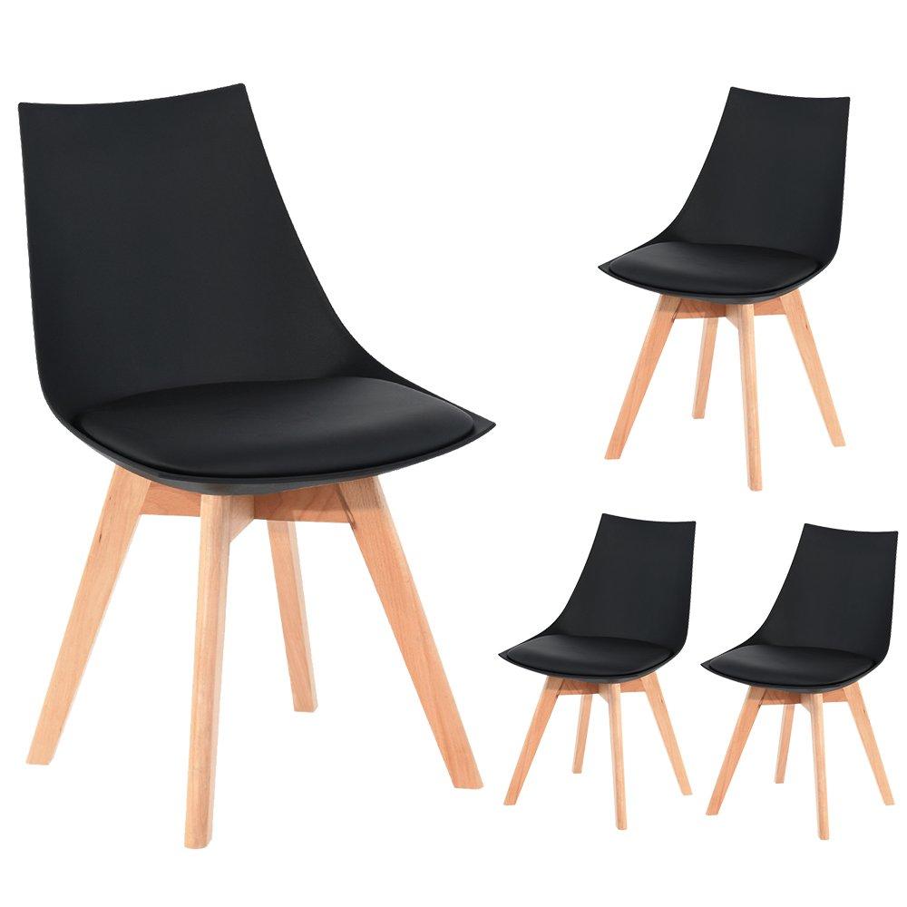 NEU 4er Set Holz küchen stühle Retro gepolsterter Bürostuhl mit ...