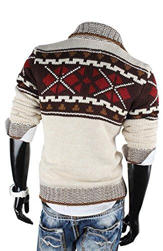 Tazzio Pull d'hiver norvégien en tricot pour homme Gris - Stein