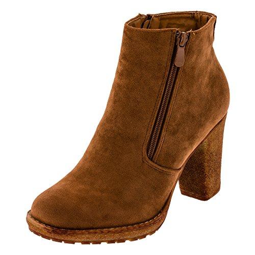 in 4 Farben Damen Kurzschaft Stiefel Ankle Boots Stiefelette mit Absatz (39, M308hbn Hell Braun) (Schuhe Stiefel Designer)