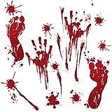 Halloween Aufkleber Fenster,Miya Halloween Horror Glas Wandaufkleber PVC Material Simulation Blut Dekorative Wandaufkleber 4 Muster,Acht Packungen zu Verkaufen
