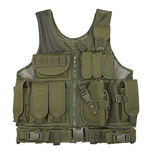 Outdoor Ausrüstung Multifunktions Oxford Tuch Weste Molle Expansion Tarnung Taktische Mesh Weste, 44 * 57 * 44Cm@Armee-Grün_Eine Größe -
