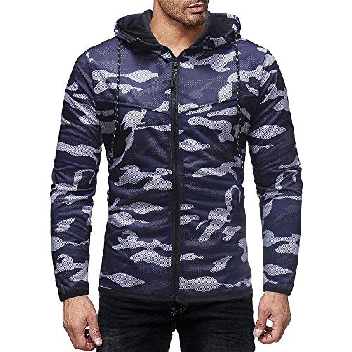 YEBIRAL Herren Weste Zip Hoodie Sweatjacke Outdoor Freizeit Sport-Style Camouflage Sweatshirt Kapuzenjacke Y-08003(M,Navy-02) (Weste Tall Herren And Winter Big)