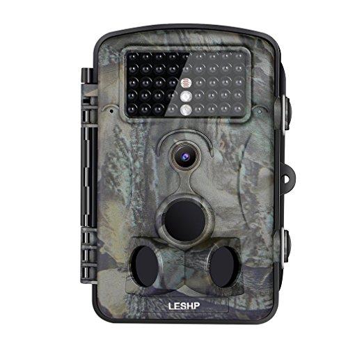 Wildkamera, LESHP-Überwachungskamera, wasserdicht, 42LEDs, 12MP 1080P HD, 25m, Weitwinkel 65°, Wasserdichte IP54, Nachtsicht bei geringer Helligkeit, Infrarot-Kamera