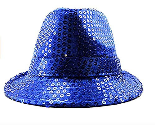 Herren Damen LED Hut Party Pailletten bunte Lichter Disko Trilby Fedora blau -