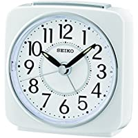 Seiko QHE140W Unisex Analogue Alarm Clock Plastic White
