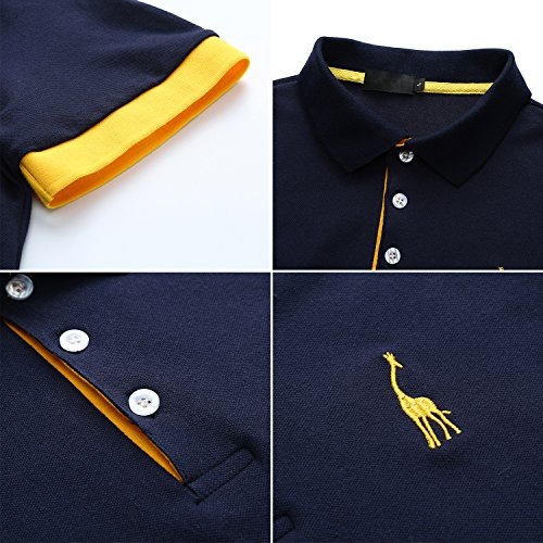 YCUEUST Hommes 3 Boutons Cotton Basic Manche Courte Casual Polo Tennis Golf Poloshirt Bleu L