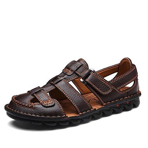 GAOLIXIA Sommer Sandalen - Männer auf Fuß Baotou Sandalen - Erste Schicht aus Leder Sport Beach Schuhe - Breathable Casual Coach Schuhe Größe 6-11 (Farbe : Braun, Größe : 40 EU)