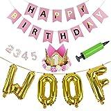 Legendog Hund Geburtstag Set, 25Pcs Hunde Geburtstag Deko, Happy Birthday Girlande, Ballons, Set Geburtstag Dekoration Zubehör