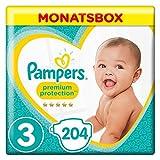 Pampers Premium Protection Windeln, Gr. 3 Midi (5-9 kg), Monatsbox, 1er Pack (1 x 204 Stück)