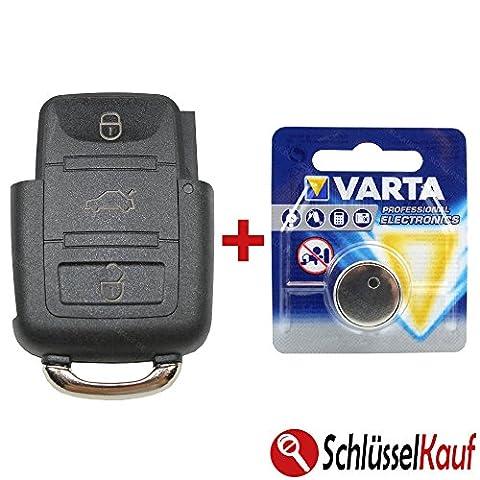 VW Boitier de clé Clé Boîtier + Télécommande avec piles–3Boutons–Convient pour: Golf 4IV/5V/6VI