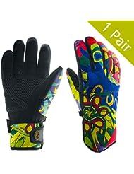 Nlife Mujeres 5dedos guantes de nieve impermeable invierno guante Ideal para Exterior de ciclismo esquí Snowboard (frío de Obstrucción: de 58F), color Color 1, tamaño medium
