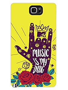 Samsung Note 5 Covers & Cases - MTV Gone Case - Music Is My Drug - Yellow - Designer Printed Hard Shell Case
