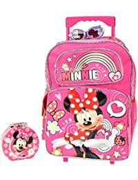 """Christmas Gift For Girls Minnie Mouse 16"""" Rolling Backpack Combo Set"""