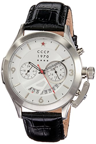 CCCP Men's Shchuka 43.5mm Leather Band Steel Case Quartz Watch CP-7011-06