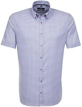 SEIDENSTICKER Herren Hemd Tailored 1/2-Arm Bügelfrei Karo City-Hemd Button-Down-Kragen Ohne Manschette
