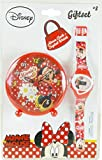 EUROSWAN Coffret cadeau = Réveil 9cm + montre digitale MINNIE Disney rouge (Piles non incluses)