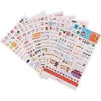 6 Hojas Pegatinas Adhesiva Vinilo Decorativa para Notas Libros Calendario Tarjetas