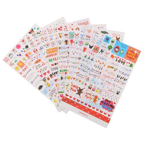 MagiDeal 6 Blätter Cute Transparent Aufkleber Sticker DIY Tagebuch Scrapbooking Deko (Planer Koreanisch)
