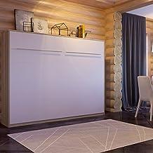 SMARTBett cama abatible de 140cm Horizontal, armario cama, la cama de pared plegable