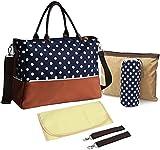 Premium Quality Multi-function Baby Diaper Nappy Changing Bag Mummy Handbag Shoulder Bag Blue Polka Dot - 6 PCS Set