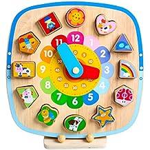 Horloge éducative magnétique en bois, forme Reconnaissance de la couleur Géométrique Bloc de tablette Empilement Tri Puzzle Jouets, cadeaux d'anniversaire jouet pour l'âge 3 4 5 ans