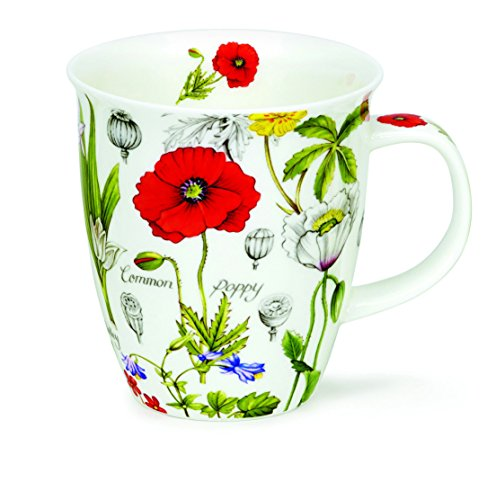DUNOON Fine Bone China Tasse Nevis Form Floral Diary Blumen - Made in England - poppy -
