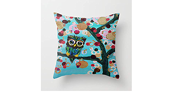 Celycasy Gemmy Owl Loves Jewel Trees Decorative Pillow Case Cushion Cover Sofa Bedroom Lumbar Throw Pillow Case 18x18 Inches Amazon Co Uk Kitchen Home