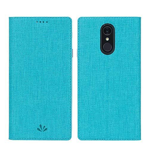 DDJ LG Q7 Plus / Q7 / Q7α Hülle, Wasserdicht PU Leder Flip Klappbares Case Cover Standfunktion Kartenfach TPU Stoßstange Wallet Holder Schutzhülle Handyhülle für LG Q7 Plus 5.5'' (Cyan)