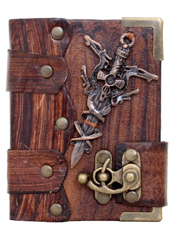 handmade-barbarian-sword-pendant-on-a-brown-leather-journal-with-lock-sketchbook-leatherbound-notebo
