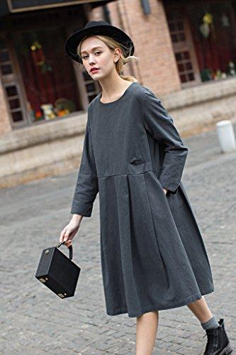 Vestito Lungo Casuale Maglia A Manica A-Line Cotone Dress Da You.U Grigio