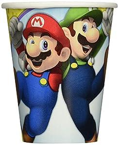 Super Mario 8unidades vasos de cartón-Por 266ml-Mario Cups