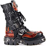 New Rock Shoes - Unisex Black Leather Reactor with Red Skull in Flames Boots UK 10 / Black