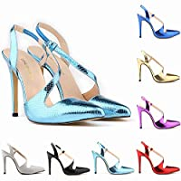 TONMOON Women's Slip on Closed Pointed Toe Pumps Stiletto High Heels Wedding Party Heeled Shiny Sandals