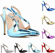 TONMOON Women's Slip on Closed Pointed Toe Pumps Stiletto High Heels Wedding Party Heeled Shiny San