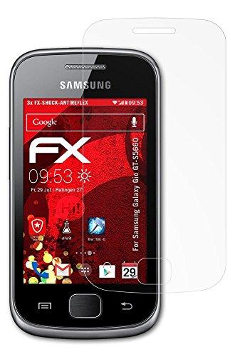 Samsung Galaxy Gio (GT-S5660) Panzerfolie - 3 x atFoliX FX-Shock-Antireflex blendfreie stoßabsorbierende Panzerschutzfolie Displayschutzfolie
