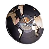 DISC´O´CLOCK Wanduhr Vinyl World gold