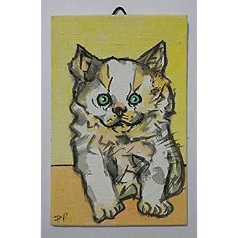 Katze-Malerei auf Leinwand handgefertigt Karton, cm10x15cm Größe,fertig zum Aufkleben auf die Wand. Hergestellt in…
