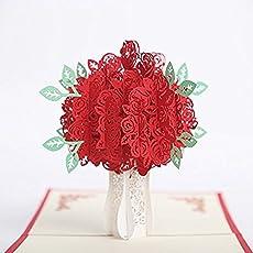 Junson Creative Greeting Paper Card 3D Pop up Handmade Craft Paper Cutting Card