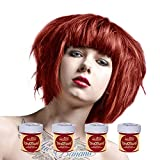 La Riché Directions Lot de 4 tubes de coloration semi-permanente pour cheveux 88 ml (Poppy Red)