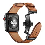 Dee Plus Butterfly Schnalle Echtes Leder Armband Uhrenarmband kompatibel Für Apple Watch 38mm/42mm Sports Strap Uhrenarmband Ersatzband Für Apple Watch Series 1 2 3 4,Mit Displayschutzfolie