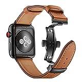 Dee Plus Bracelet de Montre en Cuir Compatible Apple Watch 38mm/42mm Boucle de Papillon en Cuir Montre de Remplacement de Bande Mode Classique pour Apple Watch Series 1 2 3 4, avec Protecteur d'écran
