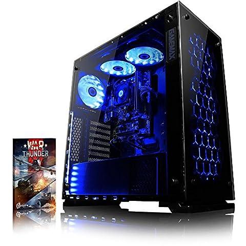 VIBOX Nebula RLR770-10 Gaming PC - 3,8GHz AMD Ryzen 8-Core CPU, RX 470 GPU, VR Ready, Hochleistung, leistungsstärker, Spec, Desktop Gamer Computer mit Spielgutschein, Blau Innenbeleuchtung, lebenslange Garantie* (3,4GHz (3,8GHz Turbo) AMD Ryzen 7-1700X Octa 8-Core Prozessor CPU, AMD Radeon RX 470 4GB Grafikkarte, 8GB DDR4 2133MHz RAM, 2TB (2000GB) Seagate BarraCuda Festplatte, 85+ Netzteil, Gamemax Onyx Gehäuse, AM4 A320 Mainboard, Externes DVD-RW, Ohne Windows Betriebssystem)