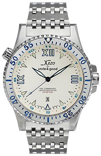 Xezo Herren Armbanduhr Air Commando Japanese-Automatic Diver 's d45-ss (Navy Seal Herrenuhr)