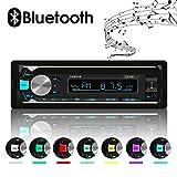 XYFANG Autoradio Bluetooth, 4 x 60W Auto Stereo Audio Ricevitore con Lettore MP3 USB / TF/ AUX / FM + Chiamata a Mani Libere,Telecomando Senza Fili, 7 colori LED regolabili