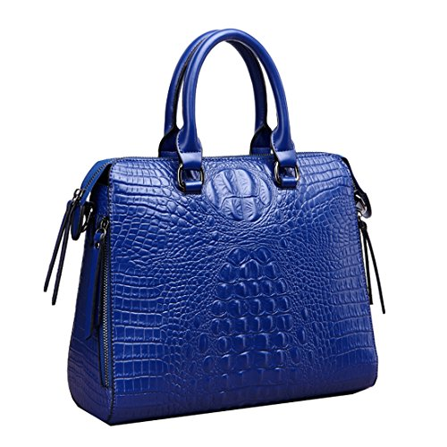 A forma di borsetta da donna in pelle di coccodrillo Missmay Purse Satchel Tote Shoulder Bag vacchetta westhome Work cross body blu (blu)