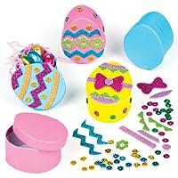 Scatole da regalo a forma di uovo di Pasqua da decorare e riempire con i dolcetti pasquali, kit fai da te per bambini (confezione da 3)
