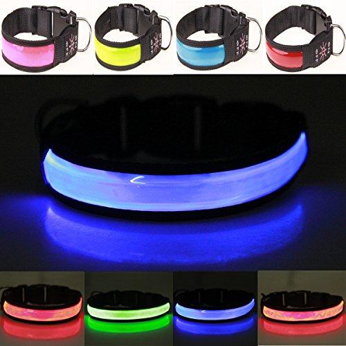 Howhome USB recargable Noche de seguridad Collar intermitente luminoso Collar de perro iluminado Collar de bucle(Azul, Pequeño)