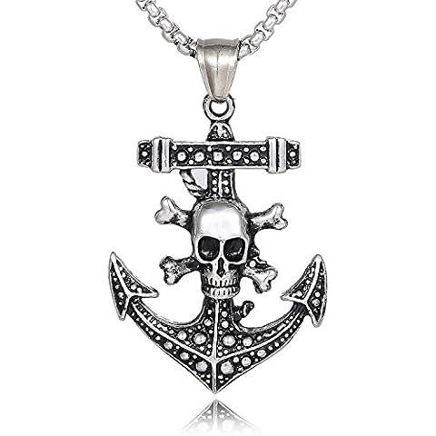 DonDon collar de cuero 52 cm con colgante piratas ancla de acero inoxidable para hombres en bolsa de terciopelo